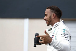 Lewis Hamilton, Mercedes AMG F1, celebrates after winning the race