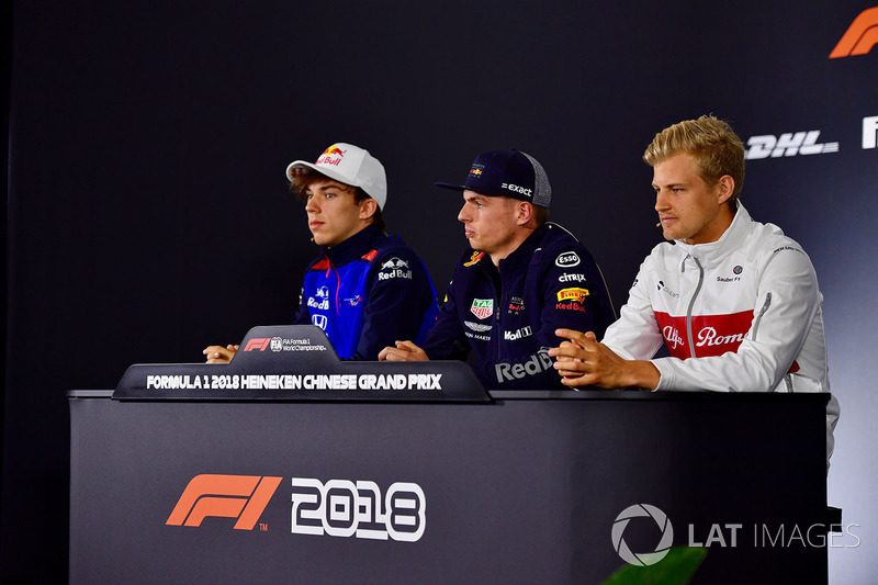 Pierre Gasly, Scuderia Toro Rosso, Max Verstappen, Red Bull Racing and Marcus Ericsson, Sauber in th