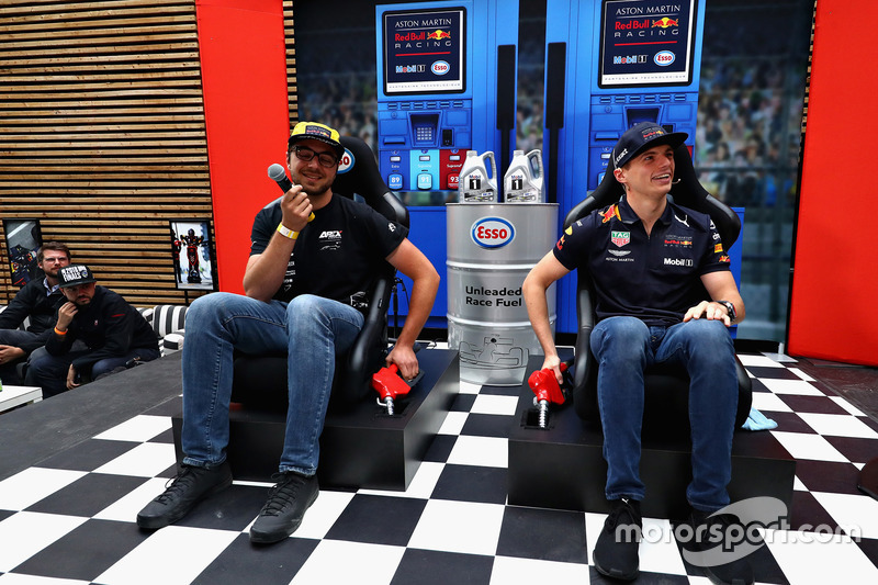A race fan takes on Max Verstappen, Red Bull Racing in a TV quiz show