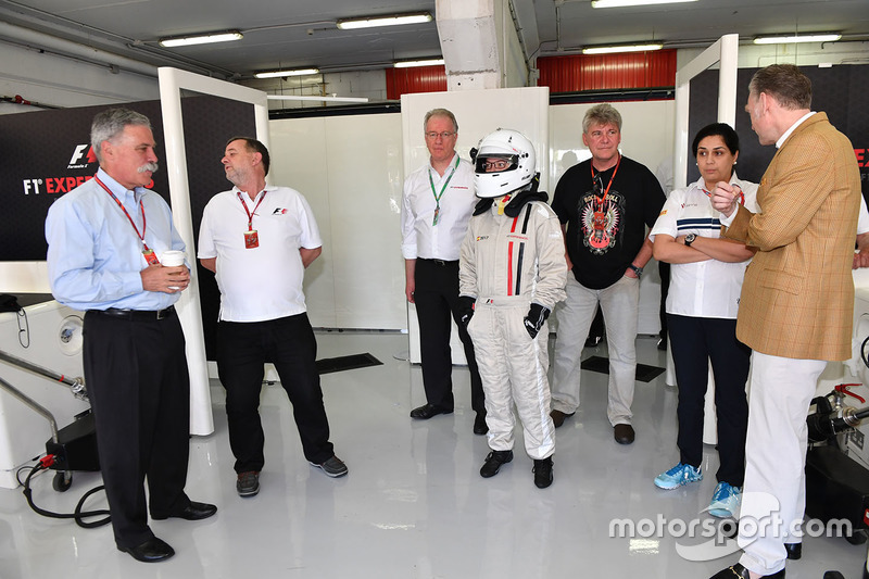 Chase Carey, Chief Executive Officer and Executive Chairman of the Formula One Group and Paul Stoddart, F1 Experiences 2-Seater passenger and Monisha Kaltenborn, Sauber Team Prinicpal and Sean Bratches, Formula One Managing Director, Commercial Operations