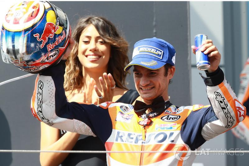 Podio, tercer clasificado, Dani Pedrosa, Repsol Honda Team