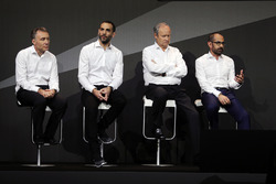 (L to R): Bob Bell, Renault Sport F1 Team Chief Technical Officer with Cyril Abiteboul, Renault Sport F1 Managing Director; Jerome Stoll, Renault Sport F1 President; and Thierry Koskas, Renault Executive Vice President of Sales and Marketing