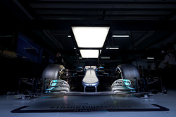 The Mercedes AMG F1 W08 in the garage
