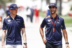 Max Verstappen, Red Bull Racing, with Daniel Ricciardo, Red Bull Racing