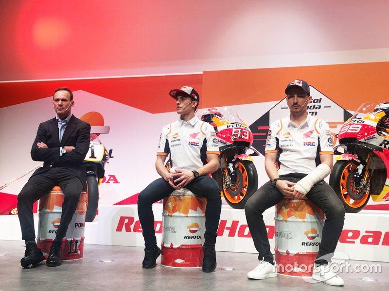Альберто Пуч, керівник команди, Марк Маркес та Хорхе Лоренсо, Repsol Honda Team