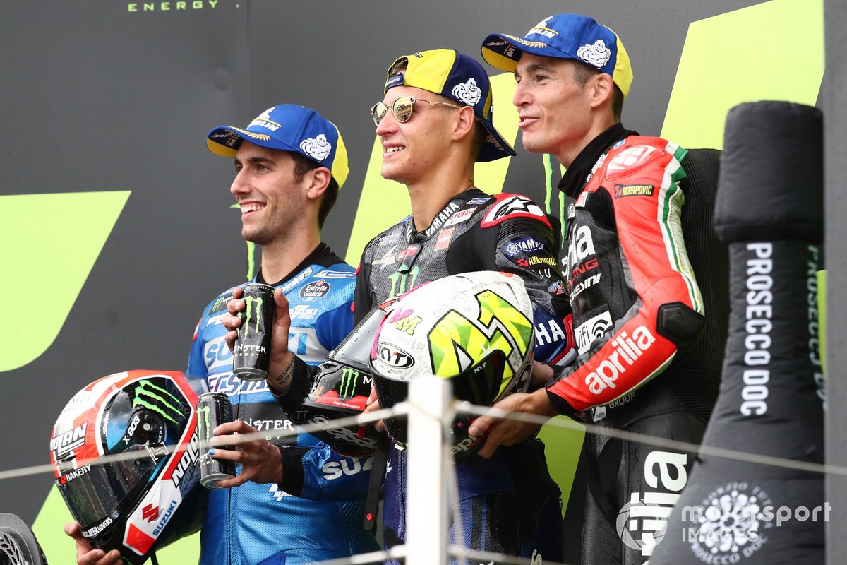 Race winner Fabio Quartararo, Yamaha Factory Racing, second place Alex Rins, Team Suzuki MotoGP, third place Aleix Espargaro, Aprilia Racing Team Gresini