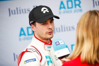 Tom Dillmann, NIO Formula E Team, NIO Sport 004 being interviewed by TV Presenter Nicki Shields