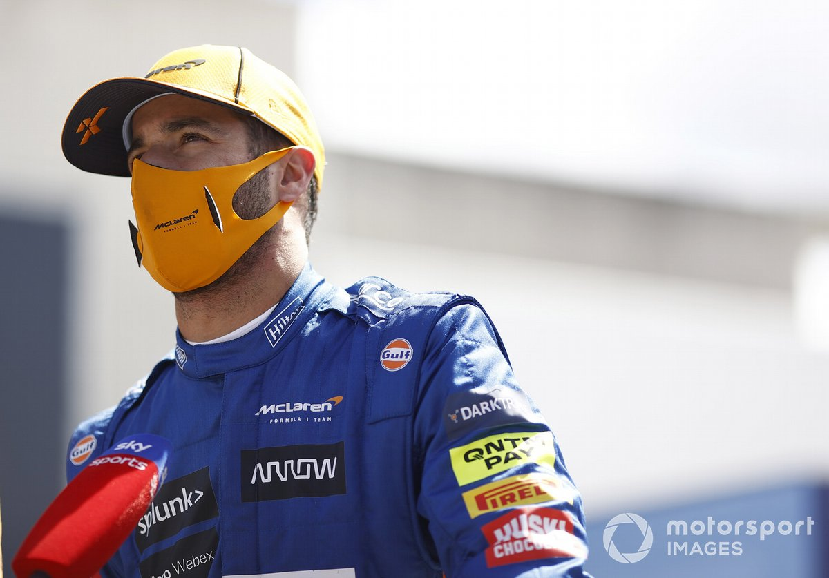 Daniel Ricciardo, McLaren, is interviewed after Qualifying