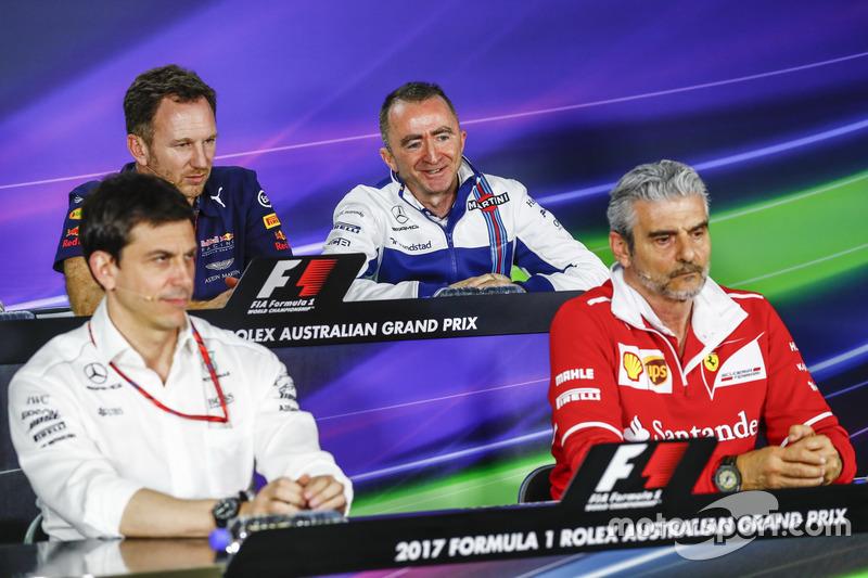 Pressekonferenz: Toto Wolff, Mercedes; Christian Horner, Red Bull Racing; Paddy Lowe, Williams; Maurizio Arrivabene, Ferrari