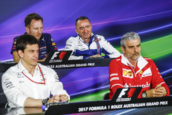 Toto Wolff, Executive Director (Business), Mercedes AMG, Christian Horner, Team Principal, Red Bull Racing, Paddy Lowe, Williams Formula 1, and Maurizio Arrivabene, Team Principal, Ferrari, in the Team Principals Press Conference