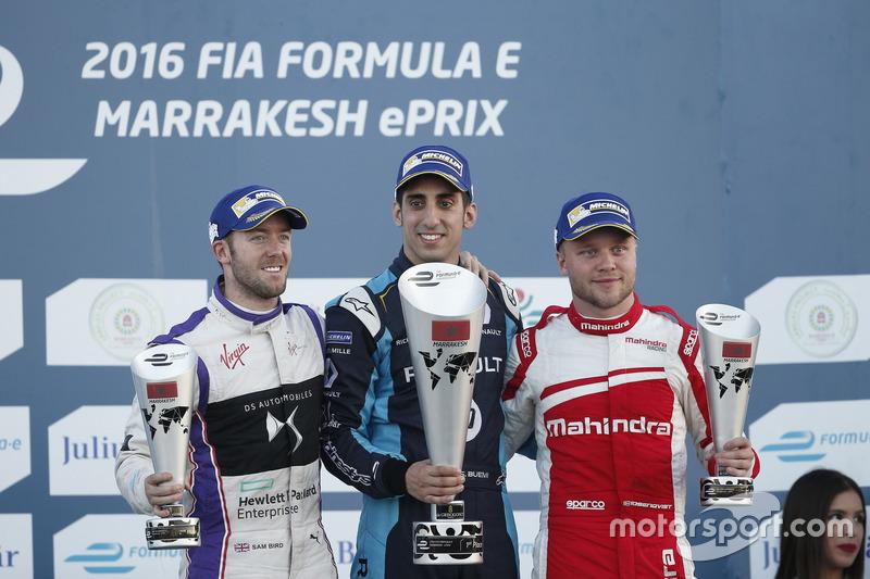 Podium: 1. Sébastien Buemi, Renault e.Dams; 2. Sam Bird, DS Virgin Racing; 3. Felix Rosenqvist, Mahindra Racing