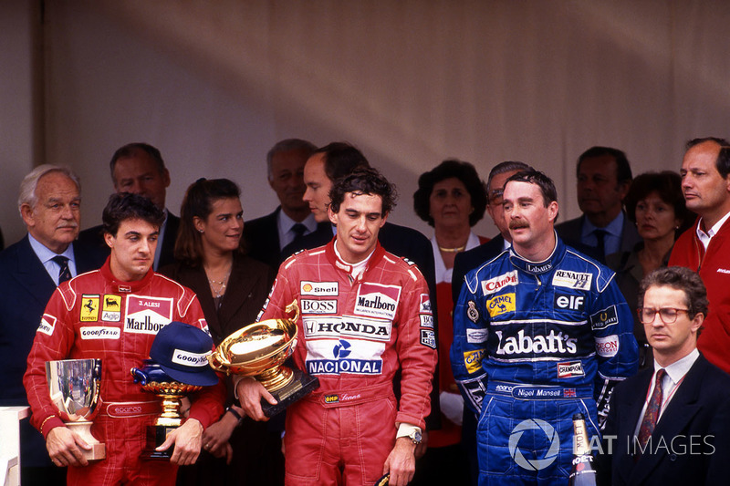 Race winner Ayrton Senna, McLaren, second place Nigel Mansell, Williams, third place Jean Alesi, Ferrari
