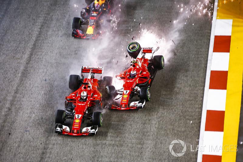 Авария Себастьяна Феттеля, Кими Райкконена и Макса Ферстаппена на старте гонки в Сингапуре