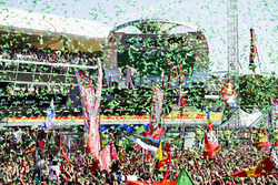Confetti falls as Race winner Lewis Hamilton, Mercedes AMG F1, Second place Third place Valtteri Bot