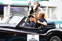 Max Verstappen, Red Bull Racing, is filmed waving on the drivers parade