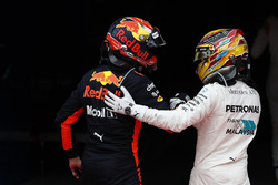 Second place Lewis Hamilton, Mercedes AMG F1, congratulates Max Verstappen, Red Bull Racing, race winner, in Parc Ferme