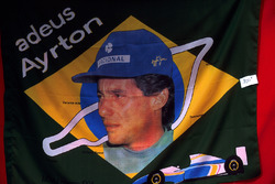 The Ayrton Senna, tribute flag had been manufactured and was ready for sale by the Grand Prix following his tragic death