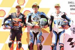 Pole sitter Franco Morbidelli, Marc VDS, second place Miguel Oliveira, Red Bull KTM Ajo, third place Fabio Quartararo, Pons HP 40
