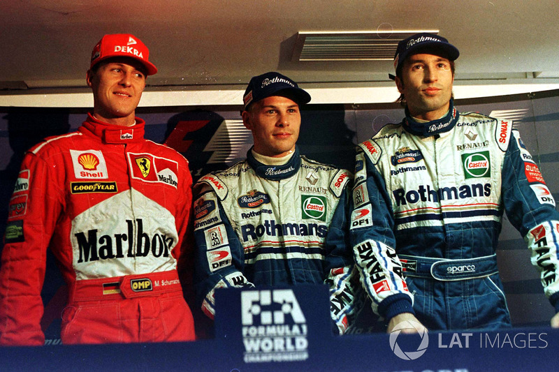 Jacques Villeneuve, Williams, Michael Schumacher, Ferrari, Heinz-Harald Frentzen, Williams all get e