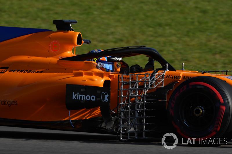 Lando Norris, McLaren MCL33, con sensori aerodinamici