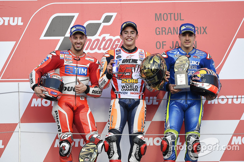 Podium: race winner Marc Marquez, Repsol Honda Team, second place Andrea Dovizioso, Ducati Team, third place Maverick Viñales, Team Suzuki Ecstar MotoGP