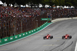 Sebastian Vettel, Ferrari SF70H, Kimi Raikkonen, Ferrari SF70H, stop at the end of qualifying