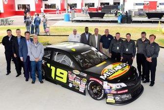 NASCAR Vice Chairman Mike Helton, ARCA President Ron Drager, and John Menard