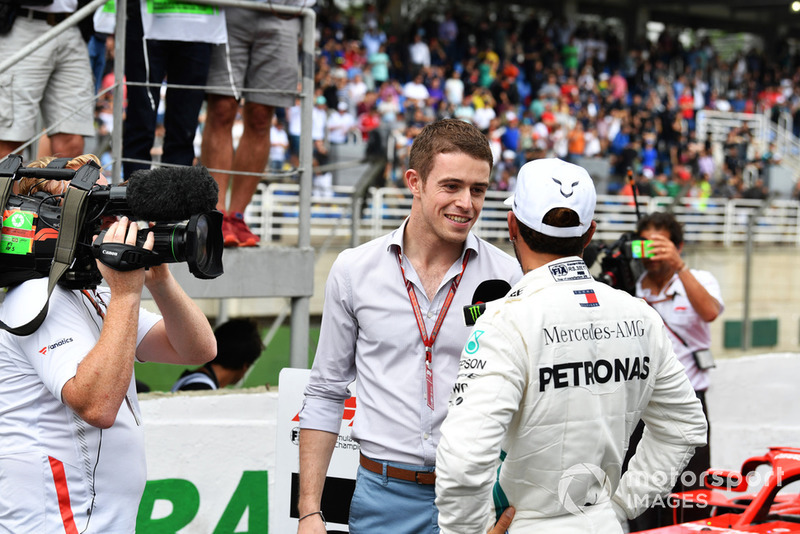 Lewis Hamilton, Mercedes AMG F1 talks with Paul di Resta, Sky TV in Parc Ferme