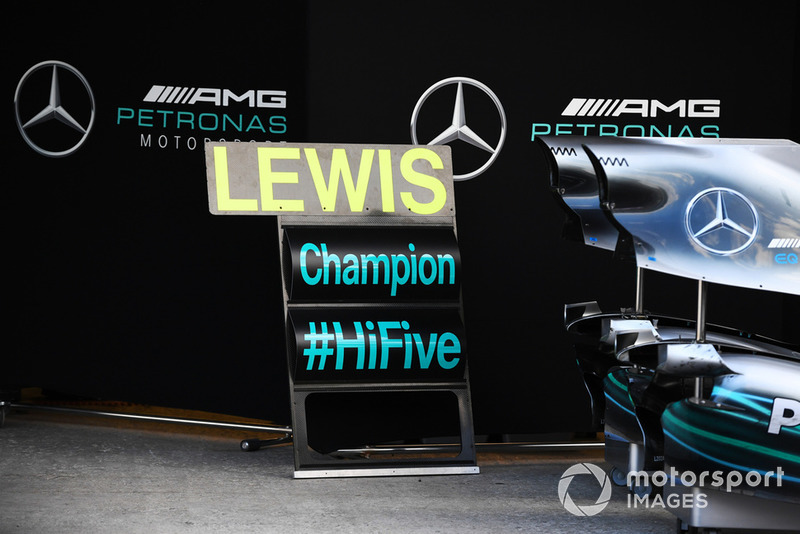 Pit board for five time World Champion Lewis Hamilton, Mercedes AMG F1