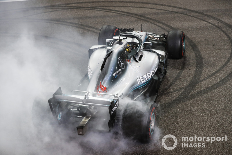 Hamilton is asked to do post-race donuts