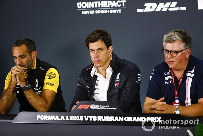 Cyril Abiteboul, Renault Sport F1 Team, Toto Wolff, Mercedes AMG F1 y Otmar Szafnauer, Racing Point Force India Team Principal