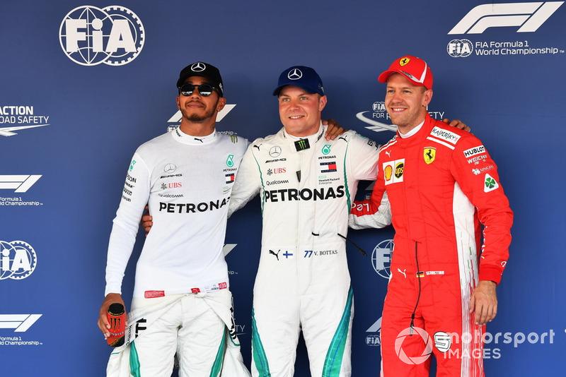 Sıralama turları ilk 3: Pole Valtteri Bottas, Mercedes AMG F1, Lewis Hamilton, Mercedes AMG F1, Sebastian Vettel, Ferrari