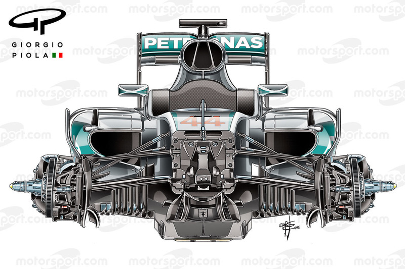 Mercedes W07 front suspensions, third view