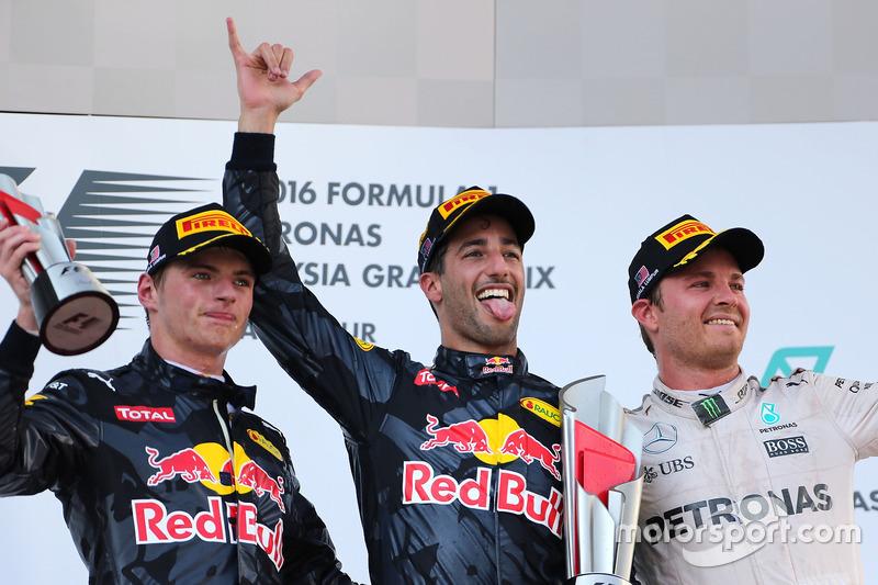 Podium: Second place Max Verstappen, Red Bull Racing, race winner Daniel Ricciardo, Red Bull Racing and third place Nico Rosberg, Mercedes AMG F1 Team