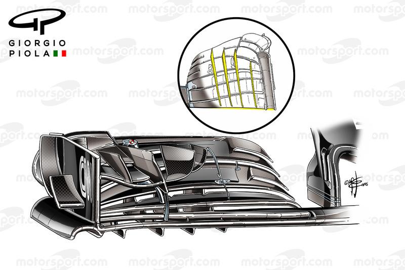 Détail de l'aileron avant de la McLaren MP4/31, GP du Mexique
