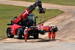 The car of race retiree Kimi Raikkonen, Ferrari SF70H is recovered