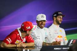 Sebastian Vettel, Ferrari, Lewis Hamilton, Mercedes AMG F1 and Daniel Ricciardo, Red Bull Racing in the Press Conference