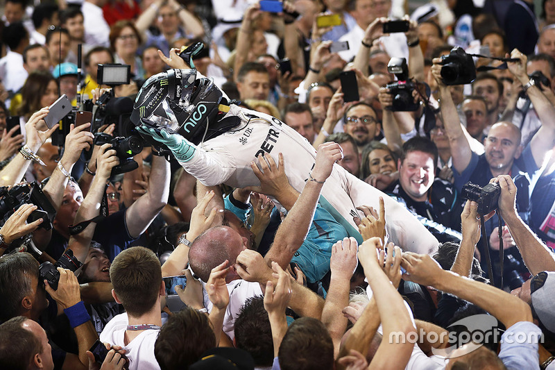 4. Second place and world champion Nico Rosberg, Mercedes AMG F1, celebrates