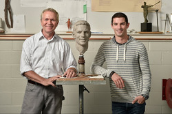 In September, 2016 Indianapolis 500 winner Alexander Rossi visited sculptor Will Behrends in Tryon, NC to begin the process of creating Rossi's image for the Borg-Warner Trophy