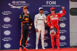 Pole sitter Lewis Hamilton, Mercedes AMG F1 celebrates in parc ferme, Max Verstappen, Red Bull Racing and Kimi Raikkonen, Ferrari