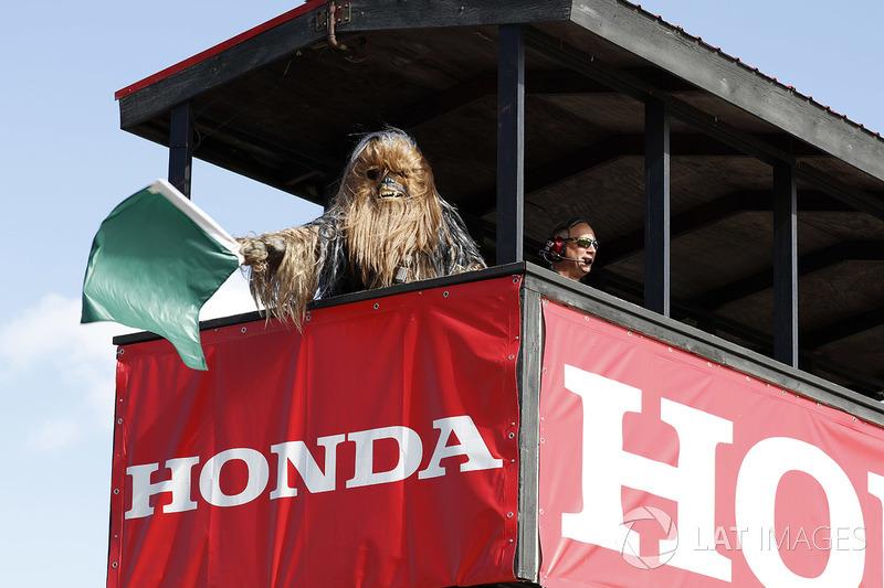 Chewbacca zeigt die Grüne Flagge zu Beginn des Freien Trainings