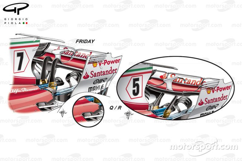 Un mini-flap sur la Ferrari SF70H, comparaison essais libres vs course, GP d'Azerbaïdjan