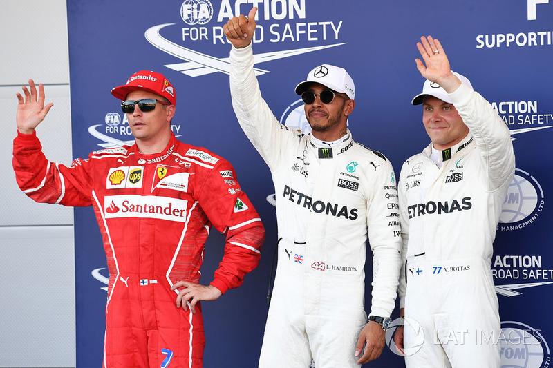 Polesitter Lewis Hamilton, Mercedes AMG F1; 2. Valtteri Bottas, Mercedes AMG F1; 3. Kimi Raikkonen,