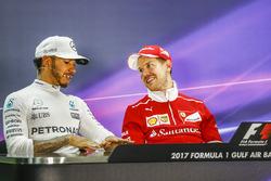 Post-race press conference: race winner Sebastian Vettel, Ferrari, second place Lewis Hamilton, Mercedes AMG F3