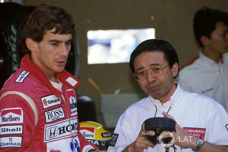 Ayrton Senna, McLaren Honda MP4/5B with Honda engine guru Osamu Goto