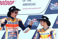 Podium: race winner Marc Marquez, Repsol Honda Team, third place Dani Pedrosa, Repsol Honda Team