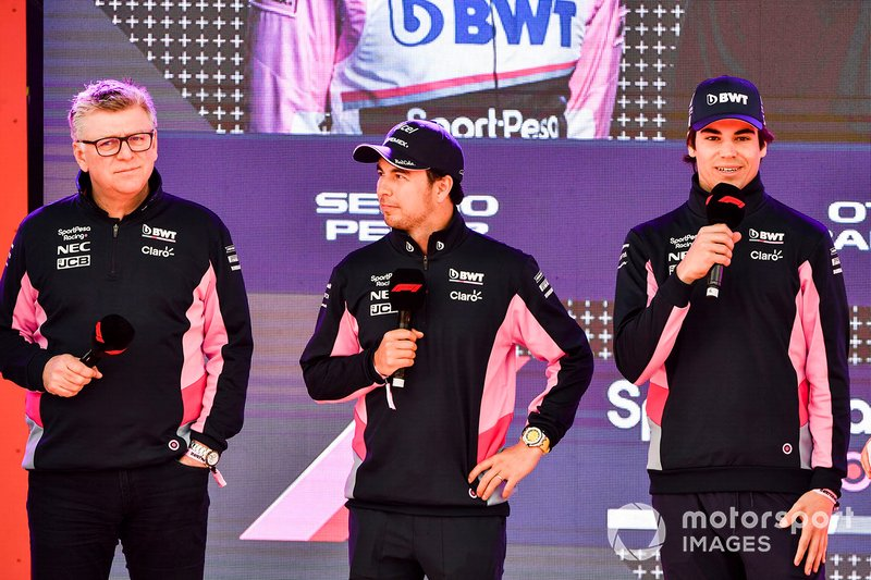 Otmar Szafnauer, team principal, Racing Point, Sergio Perez, Racing Point and Lance Stroll, Racing Point at the Federation Square event