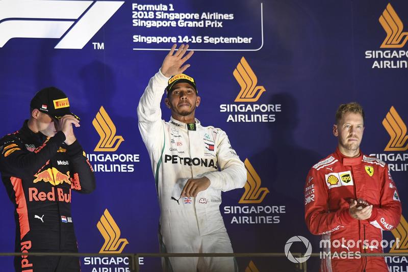 Podium: Max Verstappen, Red Bull Racing, Lewis Hamilton, Mercedes AMG F1, Sebastian Vettel, Ferrari