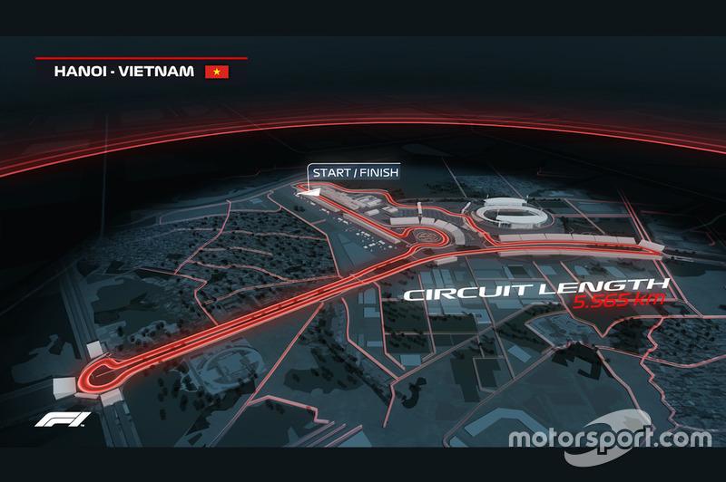 Images informatiques du circuit GP du Vietnam à Hanoï