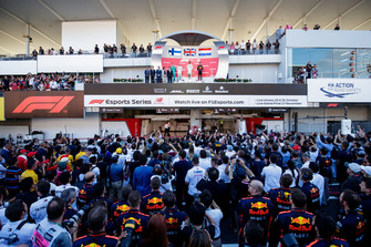 Valtteri Bottas, Mercedes AMG F1, Lewis Hamilton, Mercedes AMG F1, and Max Verstappen, Red Bull Racing, on the podium